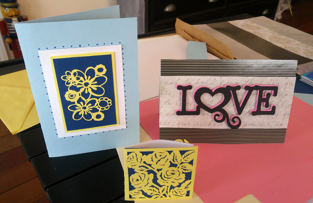 Cards made on the Cricut Maker