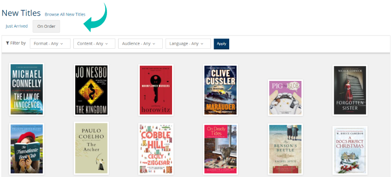 myBPL screenshot of Recent Arrivals and On-Order items