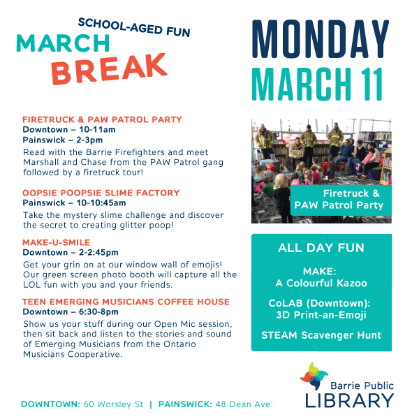 March Break - May 11 Programs